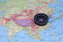 Compass and south-east asia map royalty free stock photography