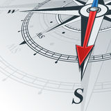 Compass south. Compass with wind rose, the arrow points to the south. Illustrations can be used as background Royalty Free Stock Photo