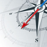 Compass southwest. Compass with wind rose, the arrow points to the southwest. Illustrations can be used as background vector illustration