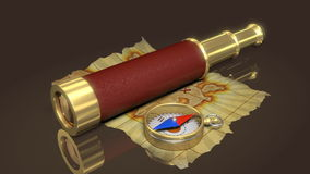 Compass, spyglass and old map stock footage