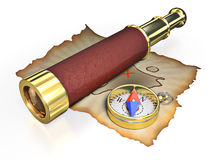 Compass, spyglass and old map Stock Photography