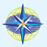 Compass star. On abstract ocean and earth globe background Stock Image