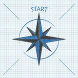 Compass Start Checked School Paper Stock Photos