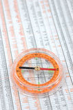 Compass on stock market numbers Royalty Free Stock Images