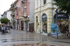 Representation of compass on the street. The Compass on the street of city of Burgas in Bulgaria on the intersection of Vasil Aprilov and Aleksandrovska Streets Stock Photos