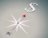 Compass of success. Conceptual image of compass directing at dollar symbol Stock Image