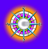 Compass sun illustration. A glossy, colorful illustration of the sun as a compass royalty free illustration