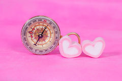 Compass with sweet marshmallow Royalty Free Stock Images