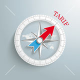 Compass Tarif. White compass on the grey background. German text Tarif, translate Tariff Royalty Free Stock Photography