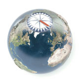 Compass with terrestrial globe. Isolated on a white background. 3d render Royalty Free Stock Images