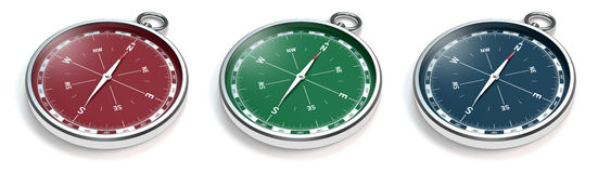 Compass in three colors Stock Photos