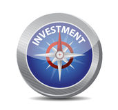 Compass to investment. illustration design. Over white Royalty Free Stock Image