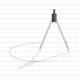 Compass tool draw circle on line paper Stock Photos