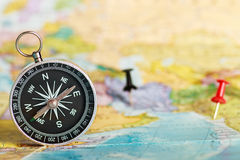 Compass on the tourist map Stock Photography