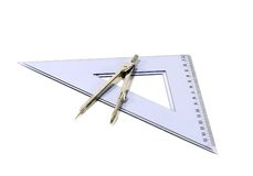 Compass and Triangle. Isolated drawing compass and triangle Royalty Free Stock Image