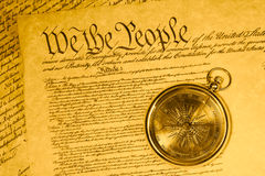 Compass and United States Constitution Stock Image