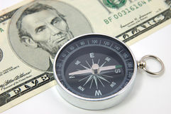 Compass on us dollar bill Royalty Free Stock Photos