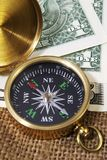 Compass with US Dollars Royalty Free Stock Photos