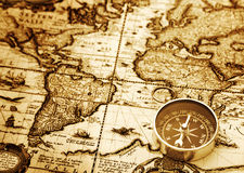 Compass on vintage map Stock Image