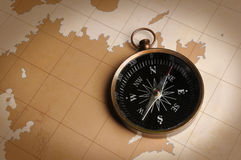 Compass on a Vintage Map Stock Image