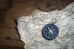Compass and vintage map Stock Photo