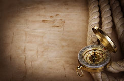 Compass on vintage old paper Royalty Free Stock Photography