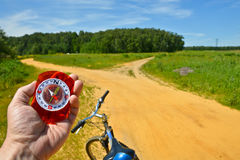 With the compass on a walk. Royalty Free Stock Images