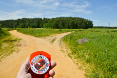 With the compass on a walk. Stock Photo