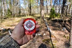 With the compass on a walk. Stock Photography