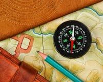 Compass wallet and passport Stock Photos