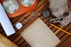 Compass, watch and old paper Royalty Free Stock Photo