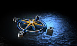 Compass on Water Stock Image
