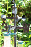 Compass weather. Vane with thermometer for garden Royalty Free Stock Photography
