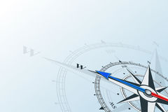 Compass west background. Compass west. Compass with wind rose, the arrow points to the west. Compass on a blue background. Compass illustrations can be used as Stock Images