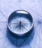 Compass on white. Brass compass  on white background Stock Photos