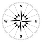 Compass wind rose. Compass rose (wind-rose) with cardinal directions and degree scale. Black on white background. Vector available Stock Photo