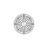Compass wind rose drawn design element. Black line sketch sign i Royalty Free Stock Images