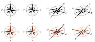 Compass Wind Rose. Wind Rose Compass in multiple styles, clean and grunge Royalty Free Stock Photos