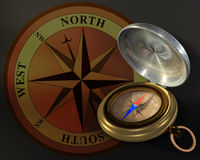 Compass and windrose. Opened compass on windrose background vector illustration