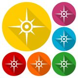 Compass, windrose icons set with long shadow Stock Photo