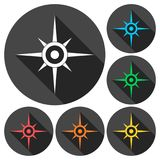 Compass, windrose icons set with long shadow Royalty Free Stock Image