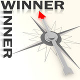 Compass with winner word isolated Royalty Free Stock Image