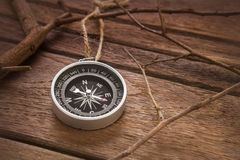 Compass on wooden background Stock Images