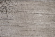 Compass on wooden background for travel concept. Stock Images