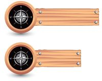 Compass on wooden banners Royalty Free Stock Photography