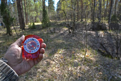 With compass in the woods. Royalty Free Stock Photos