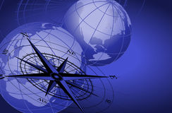 Compass and World Globes. Abstract background with compass icon and world globes royalty free illustration