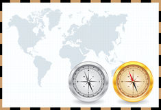 Compass & world map Royalty Free Stock Image