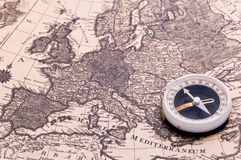 Compass on the world map stock image