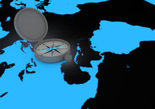Compass on world map Royalty Free Stock Images